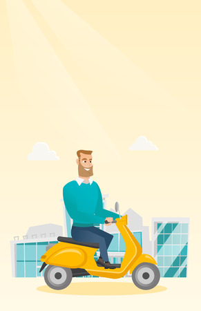 Young caucasian man riding a scooter outdoor. Smiling hipster man with beard traveling on a scooter in the city. Happy man enjoying his trip on a scooter. Vector cartoon illustration. Vertical layout.