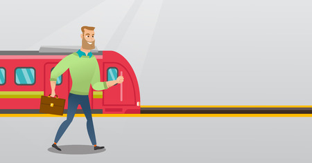 Young caucasian businessman walking on railway station platform on the background of train. Hipster businessman with briefcase going out of the train. Vector cartoon illustration. Horizontal layout.