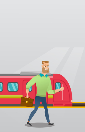 Young caucasian businessman walking on railway station platform on the background of train. Hipster businessman with briefcase going out of the train. Vector cartoon illustration. Vertical layout.
