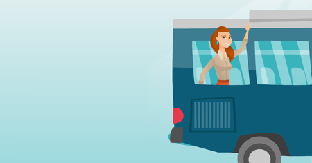 Young caucasian woman enjoying her trip by bus. Happy passenger waving hand from bus window. Cheerful tourist peeking out of bus window and waving hand. Vector cartoon illustration. Horizontal layout.