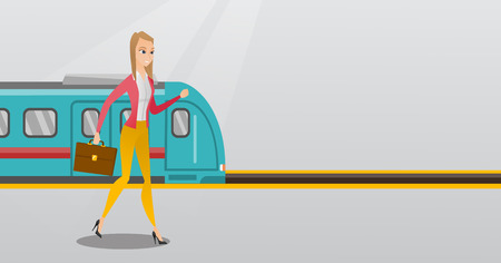 Young caucasian business woman walking on railway station platform on the background of train. Business woman with briefcase going out of the train. Vector cartoon illustration. Horizontal layout. Illustration