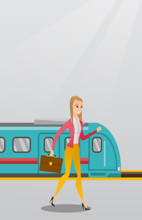 Young caucasian business woman walking on railway station platform on the background of train. Happy business woman with briefcase going out of the train. Vector cartoon illustration. Vertical layout. Illustration
