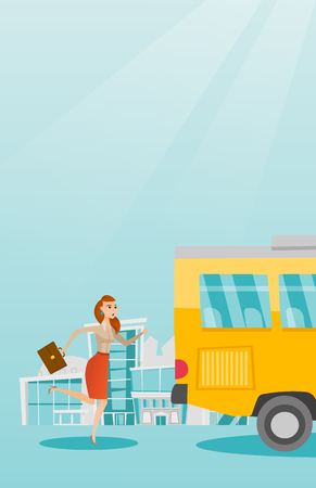 Young business woman chasing a bus. Caucasian business woman running for an outgoing bus. Latecomer business woman running to reach a bus. Vector cartoon illustration. Vertical layout.