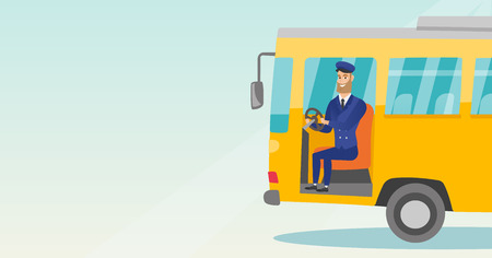 Young caucasian bus driver sitting at steering wheel. Hipster bus driver with beard driving a passenger bus. Happy bus driver sitting in the driver cab. Vector cartoon illustration. Horizontal layout. Illustration