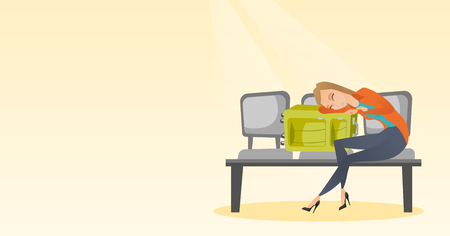 Tired caucasian passenger sleeping on suitcase at the airport. Young exhausted woman waiting for a flight and sleeping on a suitcase at the airport. Vector cartoon illustration. Horizontal layout. Ilustrace