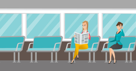 Caucasian women traveling by public transport. Woman using mobile phone while traveling by public transport. Woman reading newspaper in public transport. Vector cartoon illustration. Horizontal layout