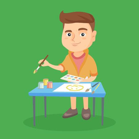 Kaukasische jongen die zich dichtbij de lijst bevindt en met een verfborstel en kleurrijke verven schildert. Gelukkige jongen die een beeld trekt door gouache. Creativiteit concept. Vector schets cartoon illustratie. Vierkante lay-out