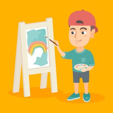 Smiling caucasian boy artist painting the picture of rainbow on a canvas. Little boy holding palette and brush and drawing a piece of art on a easel. Vector sketch cartoon illustration. Square layout.