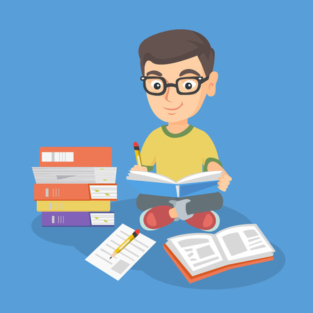 Caucasian kid in glasses sitting on the floor and reading a book. Little boy with pencil and textbook in his hands sitting near stack of books. Vector sketch cartoon illustration. Square layout.
