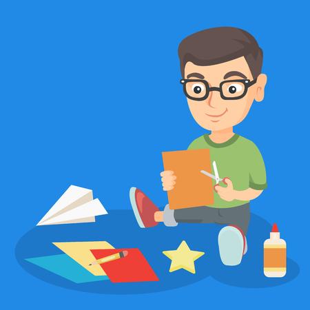 Een jongen aan het maken van een schaar, kleurpapier en lijm. Stock Illustratie