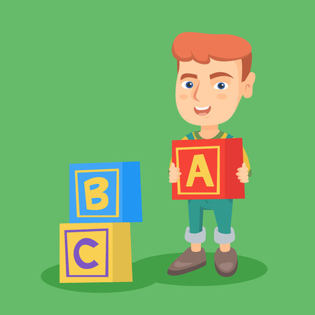 Smiling caucasian boy playing with alphabet cubes. Full length of little boy with alphabet cubes. Concept of development and education of children. Vector sketch cartoon illustration. Square layout. Çizim
