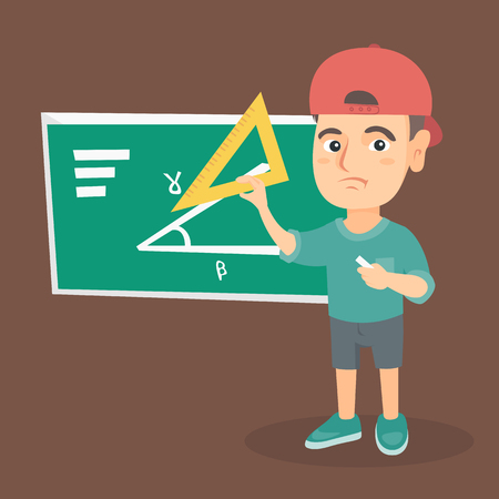 Upset caucasian pupil using a ruler on blackboard. Pupil standing in front of blackboard and solving mathematical problem with a triangular ruler. Vector sketch cartoon illustration. Square layout.