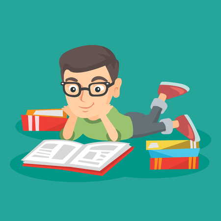 Little caucasian boy in glasses lying down on his belly on the floor and reading a story book. Boy lying down with many books. Concept of education. Vector sketch cartoon illustration. Square layout. Illustration