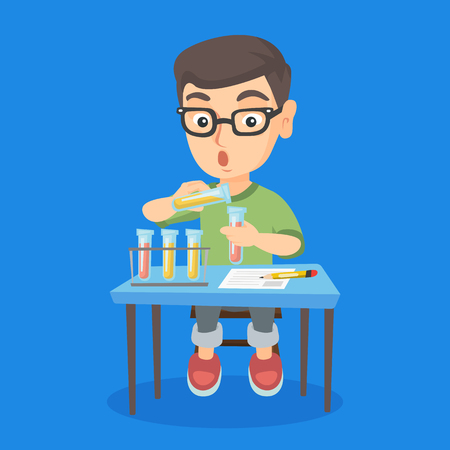 Little caucasian kid carrying out laboratory experiment. Surprised kid working with laboratory equipment with chemical liquid and taking some notes. Vector sketch cartoon illustration. Square layout.
