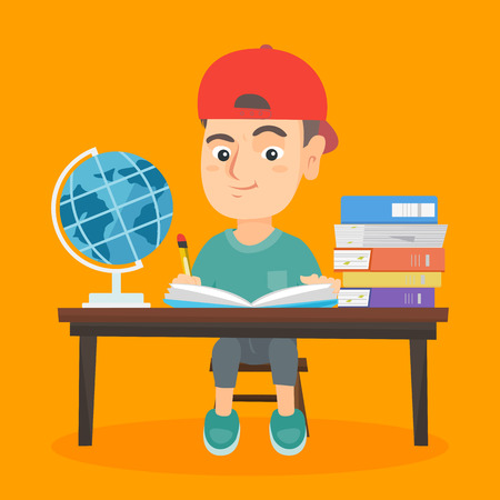 Little caucasian boy sitting at the desk in school classroom and writing in notebook. Young boy doing his school homework while sitting at the desk. Vector sketch cartoon illustration. Square layout.