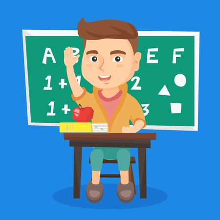 Cheerful schoolboy raising hand while sitting at the desk in school classroom. Happy young schoolboy with raised hand ready to answer a question. Vector sketch cartoon illustration. Square layout. Ilustração