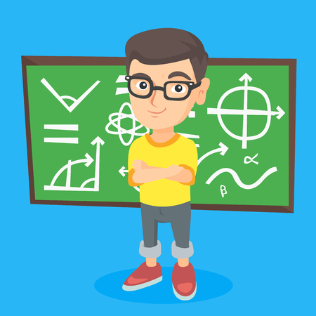 Young caucasian schoolboy in glasses standing in front of classroom blackboard. Schoolboy standing with crossed arms on the background of blackboard. Vector sketch cartoon illustration. Square layout. Illustration
