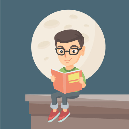 Caucasian boy in glasses sitting on the roof of the house with a book. Illustration