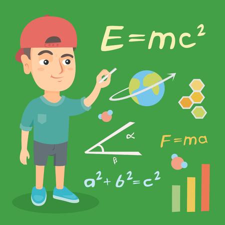 Kaukasische schooljongen die met krijt op een groen bord in schoolklasse schrijft. Slimme schooljongen wiskunde en natuurkunde formules schrijven op het schoolbord. Vector schets cartoon illustratie. Vierkante lay-out. Stock Illustratie