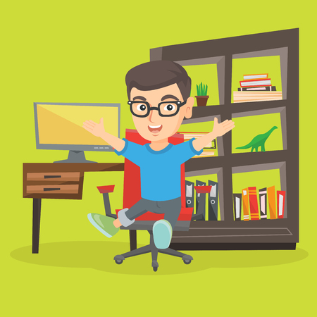 Cheerful caucasian boy sitting on the chair with raised hands in his room at home. Excited boy in glasses celebrating while sitting on the chair. Vector sketch cartoon illustration. Square layout.