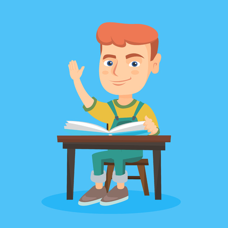 Cheerful caucasian pupil raising hand while sitting at the desk with a textbook. Happy young pupil with raised hand ready to answer a question. Vector sketch cartoon illustration. Square layout.