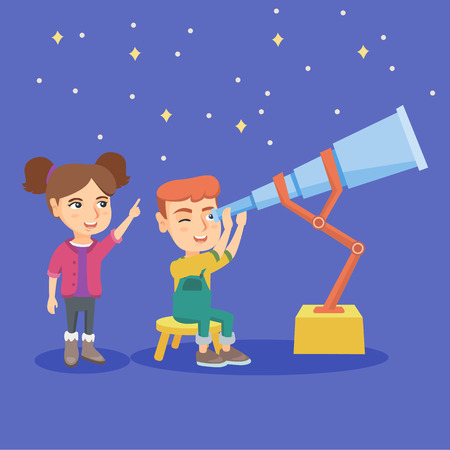 Caucasian boy sitting on chair and looking at stars through a telescope while girl pointing a finger at the sky. Boy using a telescope for stargazing. Vector sketch cartoon illustration. Square layout