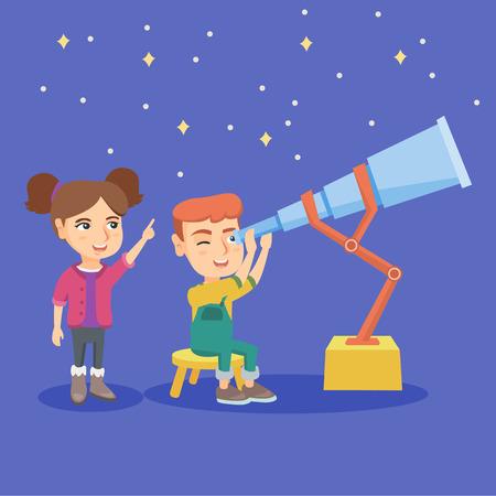 Kaukasische jongenszitting op stoel en het bekijken sterren door een telescoop terwijl meisje die een vinger richten op de hemel. Jongen met behulp van een telescoop voor sterren kijken. Vector schets cartoon illustratie. Vierkante lay-out