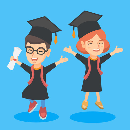 Caucasian graduation kids with diploma celebrating and jumping. Excited children wearing graduation cap and gown. Education and graduation concept. Vector sketch cartoon illustration. Square layout. Çizim