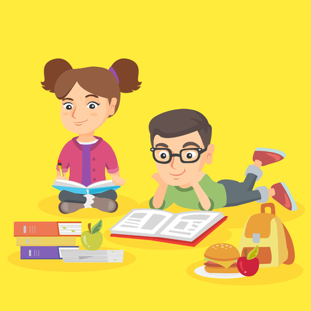 Two caucasian children doing homework together. Brother reading a textbook while his sister writing in notebook. Schoolkids studying together. Vector sketch cartoon illustration. Square layout.