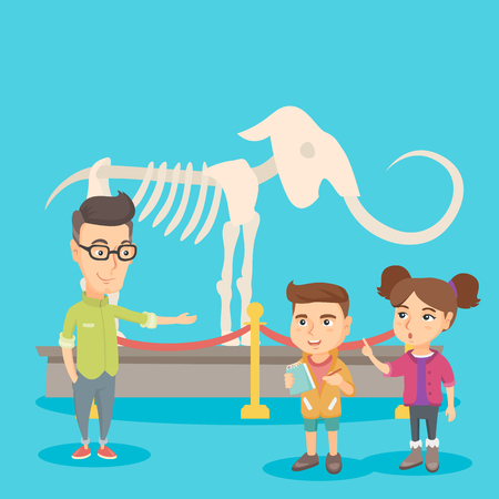showpiece: Caucasian kids studying the skeleton of mammoth at the excursion in the archeology museum with a teacher. Children having a field trip at the museum. Vector sketch cartoon illustration. Square layout.