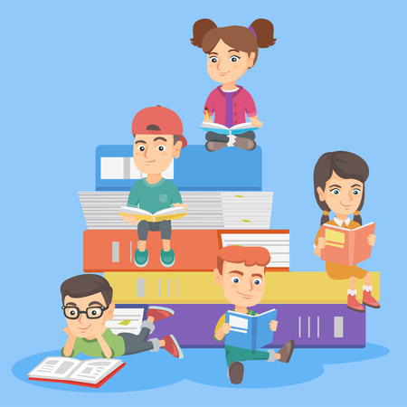 Caucasian kids reading books together. Smiling children sitting on the stack of multicolor books and enjoying reading. Kids reading for pleasure. Vector sketch cartoon illustration. Square layout. Illustration
