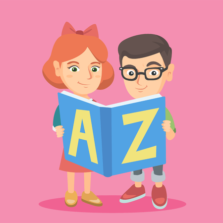 english letters: Two caucasian kids of elementary school or kindergarten reading an ABC-book. Little boy and girl holding an ABC-book. Kids studying with an ABC-book. Vector sketch cartoon illustration. Square layout. Illustration