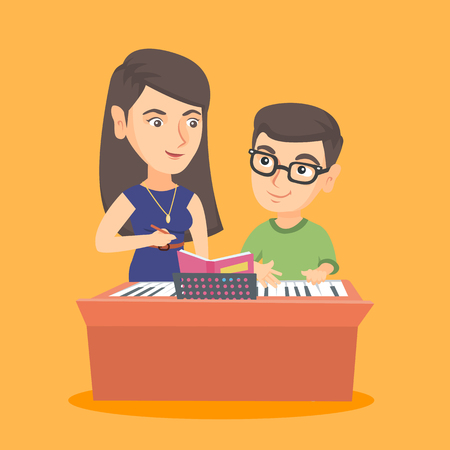 Little caucasian boy in glasses having a piano lesson with a teacher. Young piano teacher giving a lesson to a boy. Smiling boy taking piano lesson. Vector sketch cartoon illustration. Square layout.