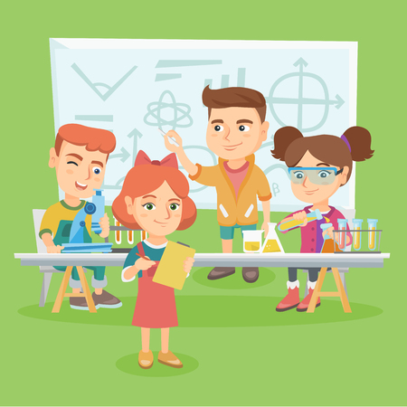 Caucasian kids making experiment in chemistry class with test tubes, flasks and microscope. Kids conducting chemistry experiment and making notes. Vector sketch cartoon illustration. Square layout Illustration