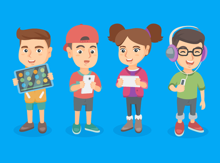 smartphone: Group of caucasian school students using modern technologies. Kids with their gadgets - tablet computer, smartphone, mp3 player with headphones. Vector sketch cartoon illustration. Square layout. Illustration