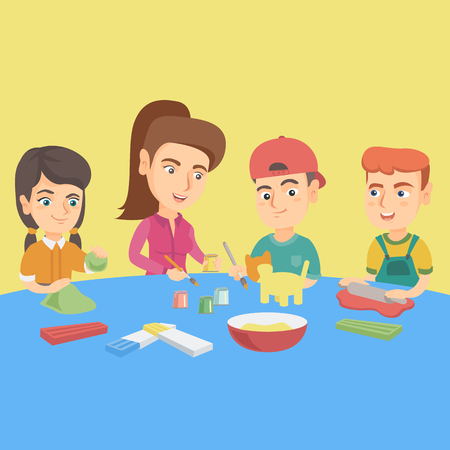 Young caucasian teacher making plasticine figures with children. Teacher teaching kids to develop motor skills of fingers with help of plasticine. Vector sketch cartoon illustration. Square layout.