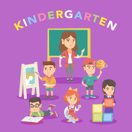 Group of caucasian children with teacher in the kindergarten. Kids reading a book, drawing on easel, playing with basketball ball in the kindergarten. Vector sketch cartoon illustration. Square layout