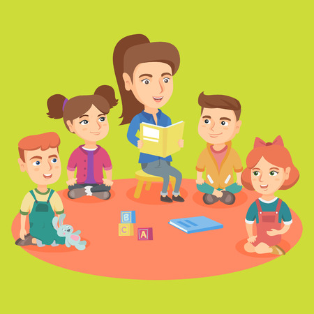 Young caucasian kindergartener reading a book for kids in the kinder garden. Group of little children listening to a kindergartener reading a book. Vector sketch cartoon illustration. Square layout. Illustration
