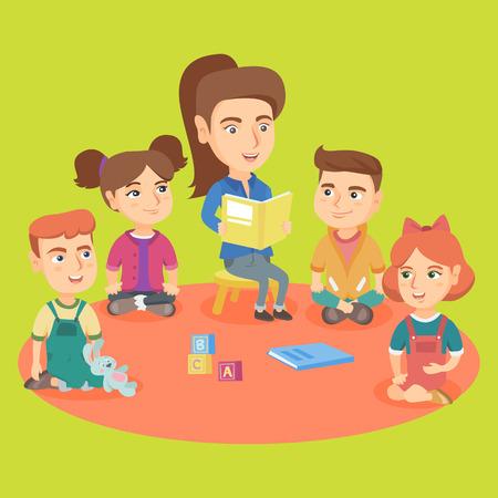 若い白人の幼稚園児は、親切な庭で子供のための本を読んでいます。本を読んでいる幼稚園児を聞いている小さな子供たちのグループ。ベクトルスケッチ漫画のイラスト。正方形のレイアウト。