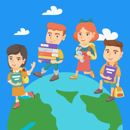 Group of caucasian preschool kids walking on the top of a globe with backpacks and books. Little preschool kids walking around the Earth planet. Vector sketch cartoon illustration. Square layout.