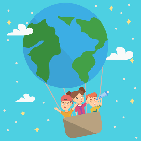 Cheerful caucasian kids riding a hot air balloon that looks like Earth planet. Kids traveling in hot air balloon and looking through a telescope. Vector sketch cartoon illustration. Square layout.