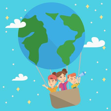 Vrolijke Kaukasische jonge geitjes die een hete luchtballon berijden die als aardeplaneet kijkt. Kinderen reizen in hete luchtballon en kijken door een telescoop. Vector schets cartoon illustratie. Vierkante lay-out. Stock Illustratie