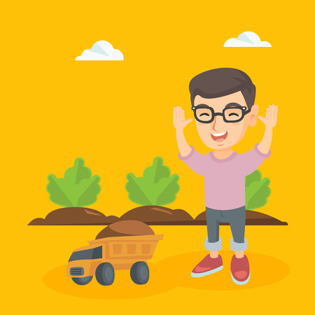 Happy caucasian boy having fun while standing with raised hands in the field. Boy laughing on the background of agricultural field with green bushes. Vector sketch cartoon illustration. Square layout. Ilustração
