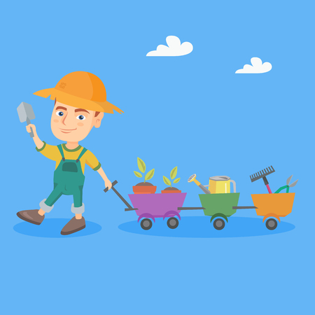 Little caucasian gardener boy pushing a cart with plants and garden tools. Cheerful gardener boy with wheelbarrow full of gardening equipment. Vector sketch cartoon illustration. Square layout. Illustration