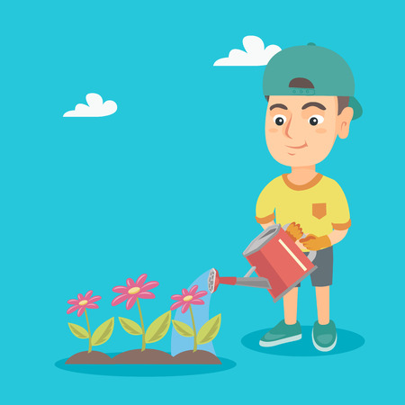 Little caucasian boy watering flowers in the garden. Young boy pouring water from a watering can on flowers. Boy taking care of flowers. Vector sketch cartoon illustration. Square layout. Illustration