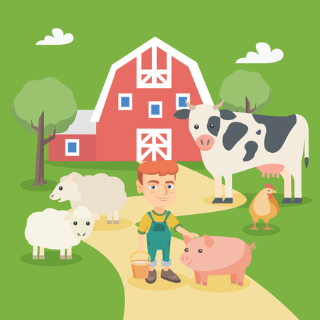 Little caucasian boy feeding farm animals. Smiling farm boy holding a bucket while standing with pig, sheep, cow and chicken in the farm. Vector sketch cartoon illustration. Square layout.