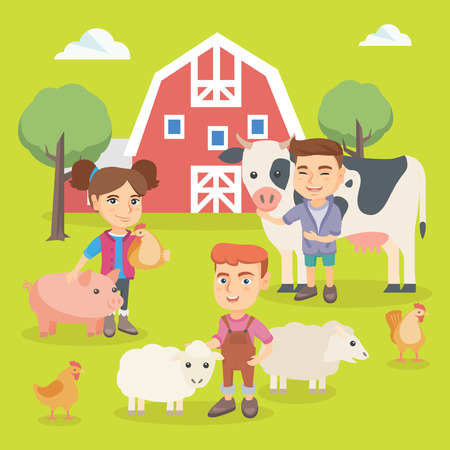 Little caucasian children playing with farm animals in the backyard. Smiling children standing among pig, sheep, cow and chicken in the farm. Vector sketch cartoon illustration. Square layout.
