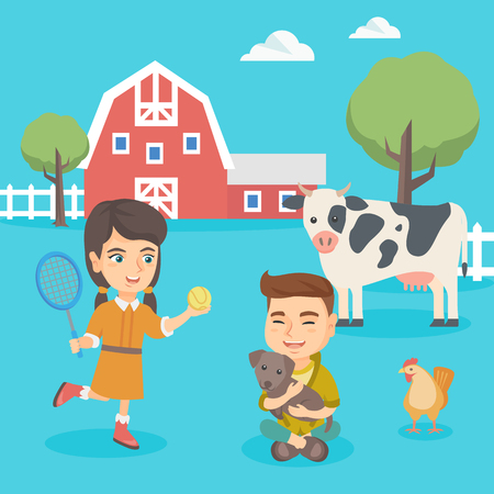 Cheerful caucasian active children playing in the backyard in the farm. Happy boy hugging his dog in the backyard while girl playing badminton. Vector sketch cartoon illustration. Square layout.