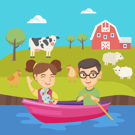 floating: Caucasian brother and sister riding on the boat on the lake. Little friends floating in a boat on the pond. Happy boy and girl traveling by boat. Vector sketch cartoon illustration. Square layout.
