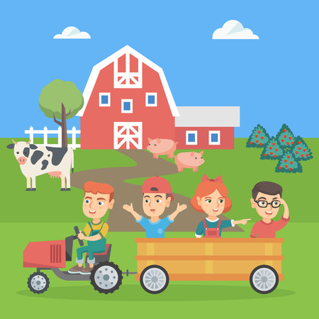 Little caucasian boy driving a tractor with his friends in hindcarriage in the farm. Children enjoying a ride in a tractor in the backyard of farm. Vector sketch cartoon illustration. Square layout. Illustration
